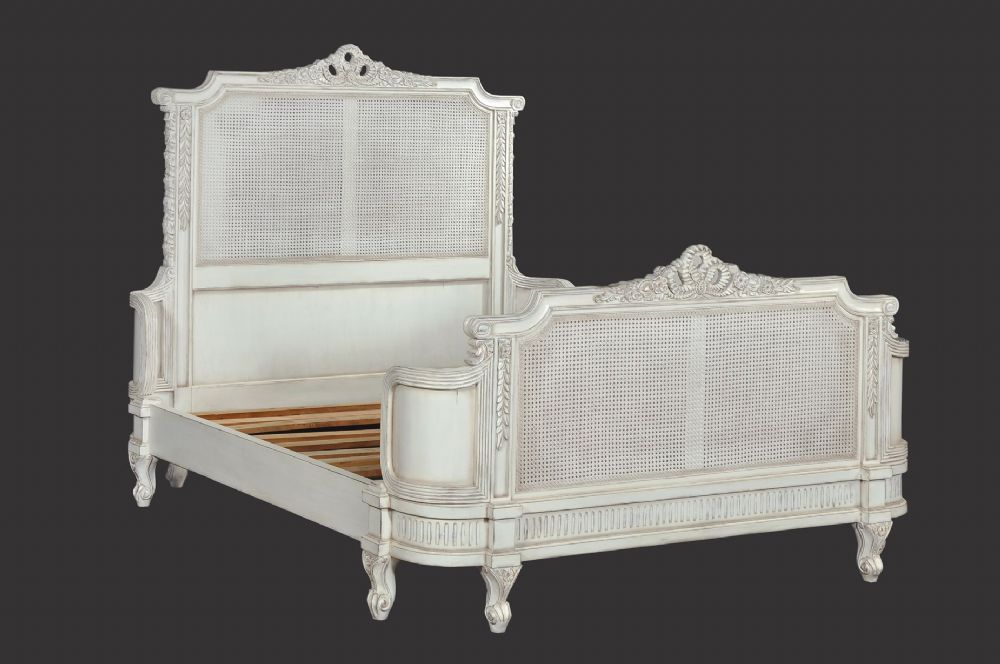 French Rattan Bed with Distressing